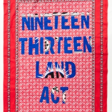afronova gallery Lawrence Lemaoana, 1913 land act, Khanga textile and cotton embroidery, 155xx115 cm, 2017 - Copie