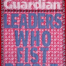 afronova gallery lawrence lemaoana leaders who fist people, embroidery on kanga, 160x82cm