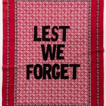 Lest we forget, Khanga textile and cotton embroidery, 155xx115 cm