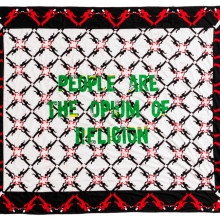 People are the Opium of Religion, Kanga textile and cotton embroideries, 258x299cm
