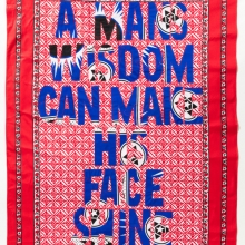 A man Wisdom, Khanga textile and cotton embroidery, 155xx115 cm