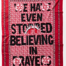 afronova gallery Lawrence Lemaoana we even stopped believing in prayers, Khanga textile and cotton embroidery, 155xx115 cm