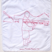 we will read the citizen press I, embroidery on linen, 45x45cm, 2012
