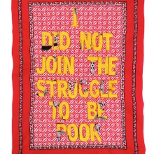 i did not join the struggle to be poor, embroidery on kanga, 155x110cm