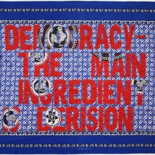 democracy - the main ingredient is derision, embroidery on kanga, 158x120cm