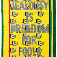 jealousy is freedom for fools, Kanga textile and cotton embroideries, 157x117cm