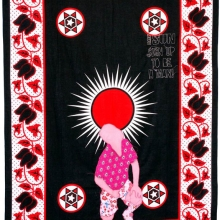 fortune teller 5, embroidery on kanga, 155x111cm